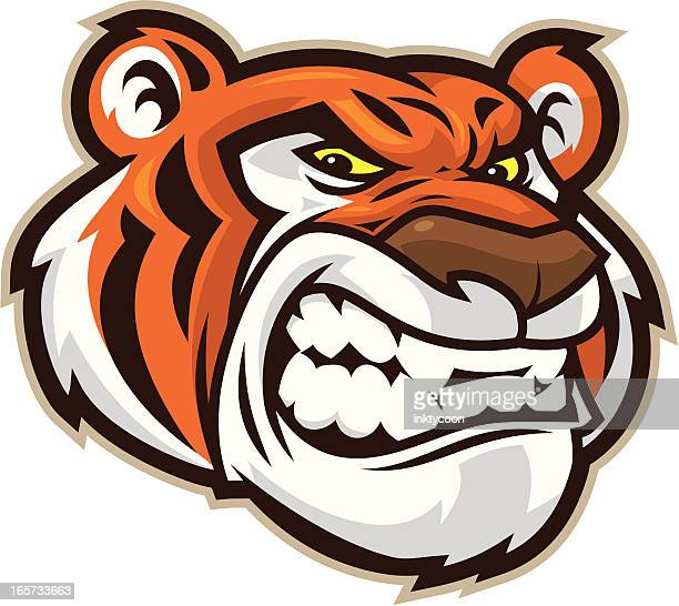 tiger head - agression stock illustrations, clip art, cartoons, & icons