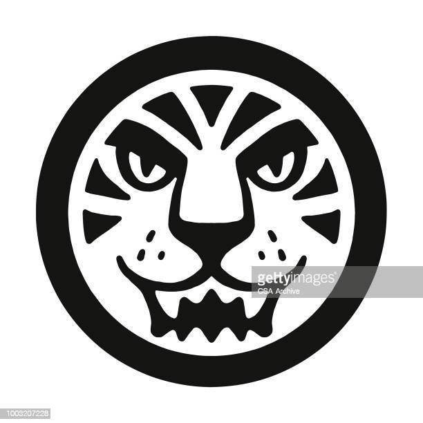 tiger icon - wildcat animal stock illustrations, clip art, cartoons, & icons