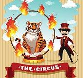 Tiger in fire hoop ring master