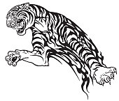 Tiger in the jump tribal tattoo