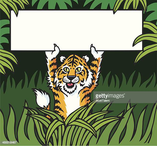 tiger in the jungle - cartoon characters with big teeth stock illustrations