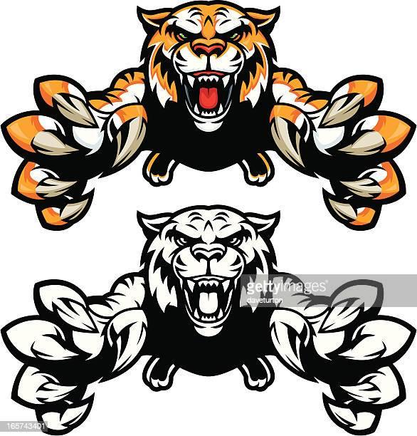 tiger jumping - claw stock illustrations, clip art, cartoons, & icons