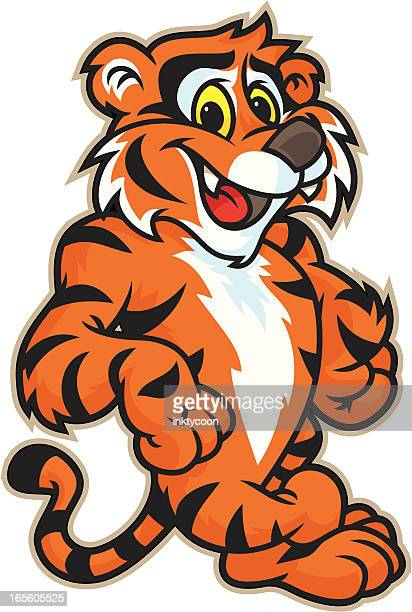 tiger leaning - tail stock illustrations