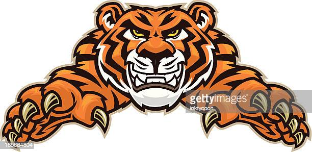 tiger leap - claw stock illustrations, clip art, cartoons, & icons