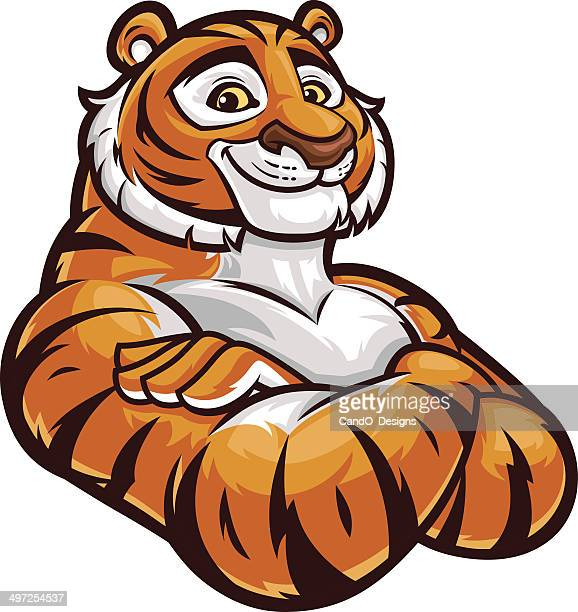 tiger mascot - arms crossed - mascot stock illustrations