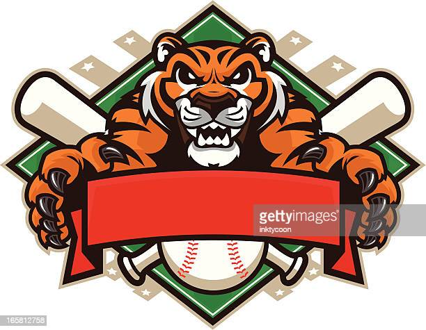 tiger mascot baseball design - claw stock illustrations, clip art, cartoons, & icons