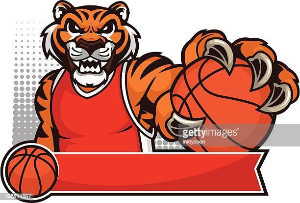 tiger mascot basketball - claw stock illustrations, clip art, cartoons, & icons