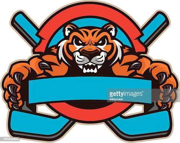 ilustraciones, imágenes clip art, dibujos animados e iconos de stock de tiger mascot de hockey - hockey sobre hierba