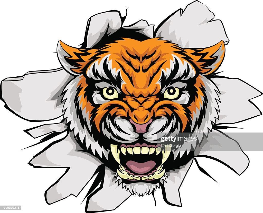 Tiger mascot ripping through