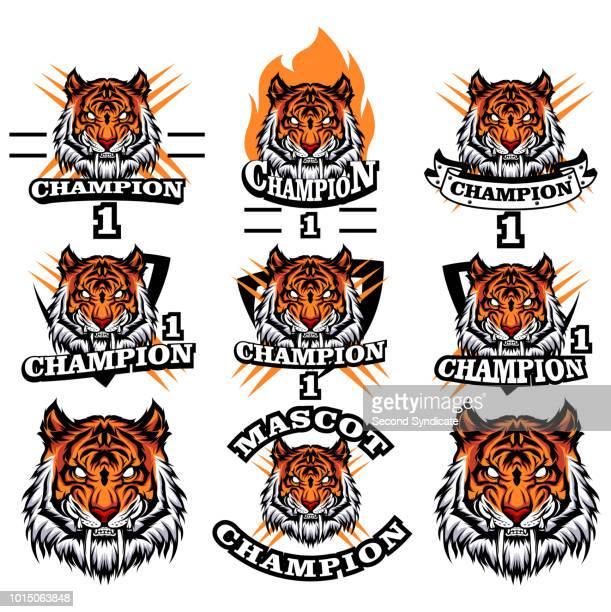 tiger mascot vector set - agression stock illustrations, clip art, cartoons, & icons