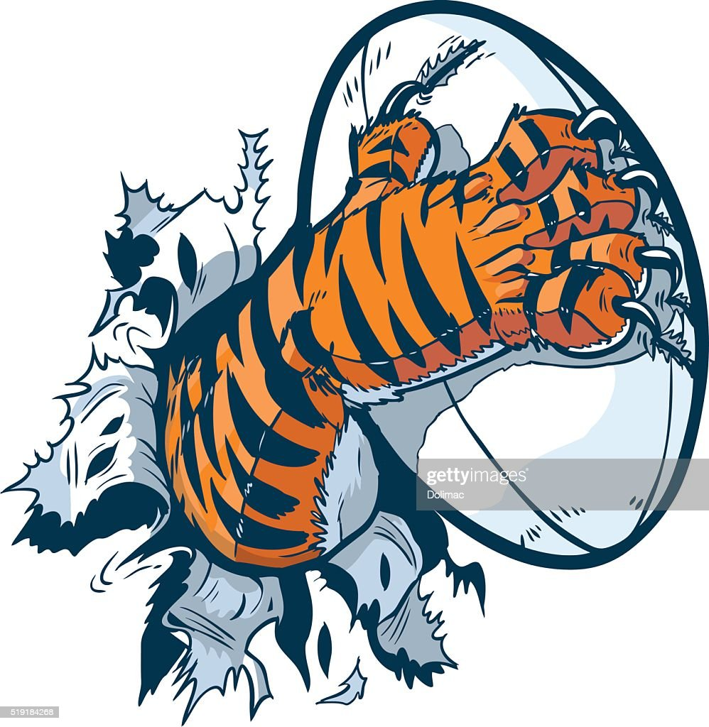 Tiger Paw Gripping Rugby Ball Ripping Out of Background