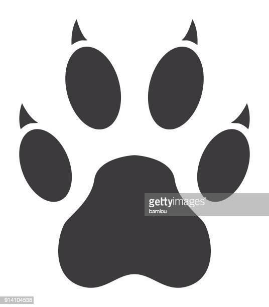 tiger paw print icon - animal track stock illustrations, clip art, cartoons, & icons