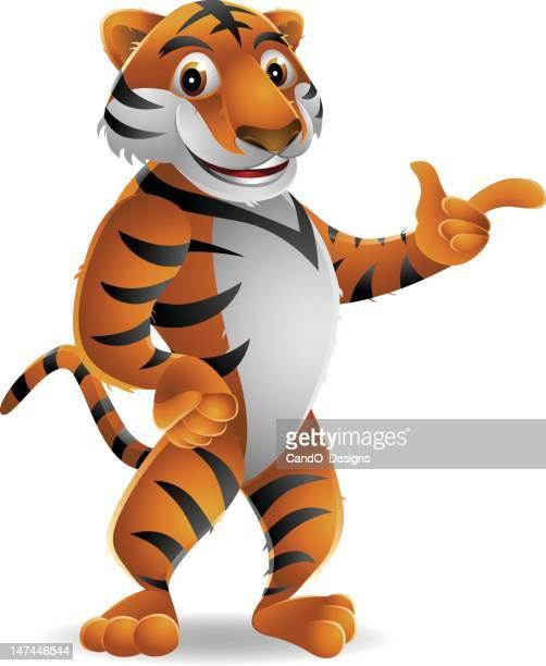 ilustraciones, imágenes clip art, dibujos animados e iconos de stock de tiger: señalando - tigre