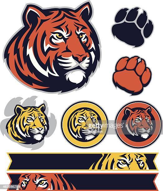 ilustraciones, imágenes clip art, dibujos animados e iconos de stock de tiger paquete de promoción - tigre