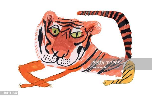 ilustrações, clipart, desenhos animados e ícones de tigre descansando. ser legal - animais em extinção