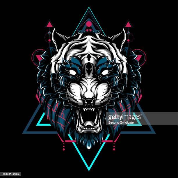 ilustraciones, imágenes clip art, dibujos animados e iconos de stock de geometría sagrada tigre - tigre