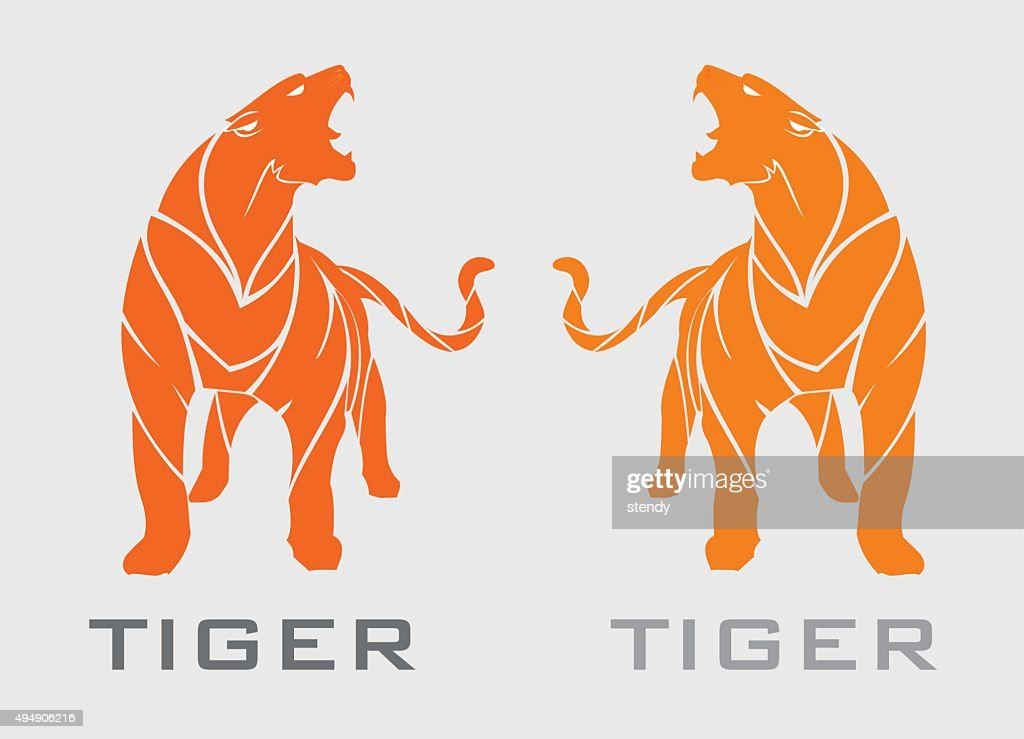 tiger. standing roaring tiger in orange.