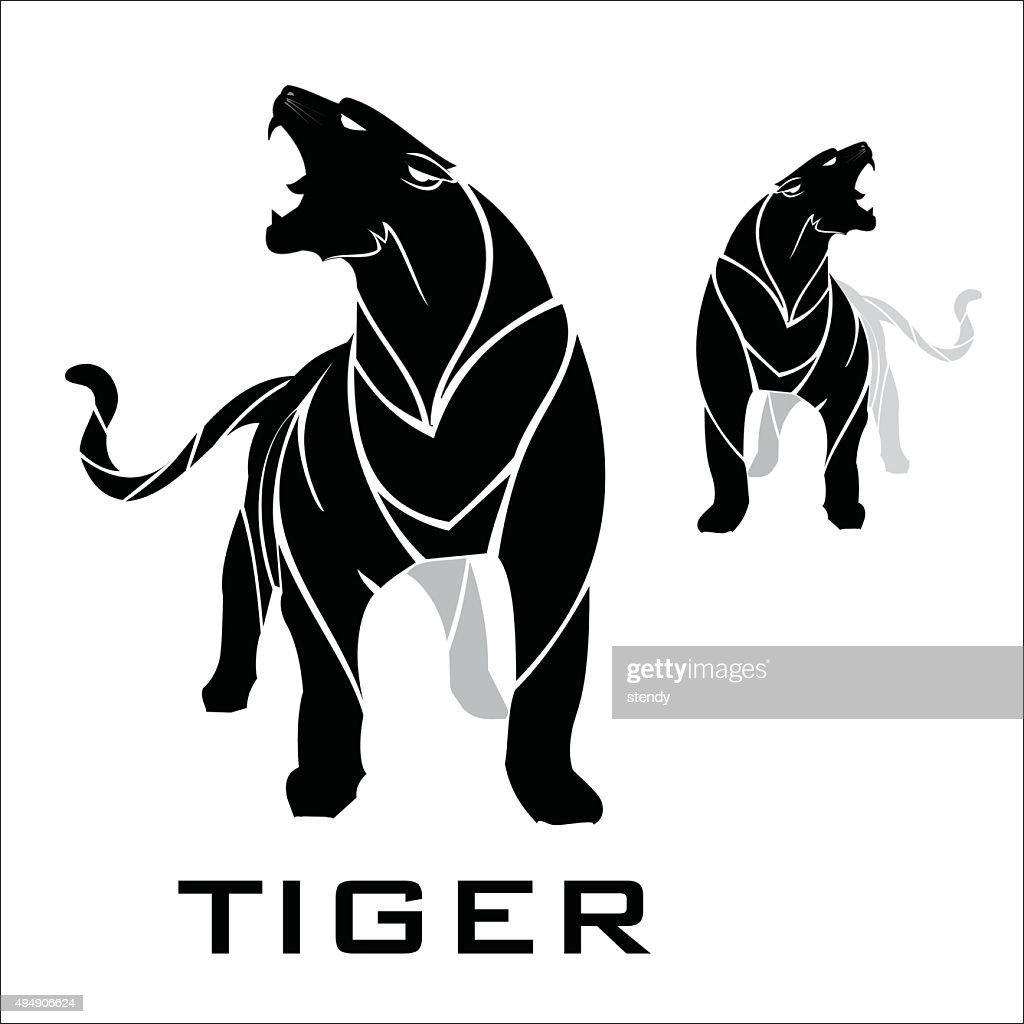 tiger. standing roaring tiger.
