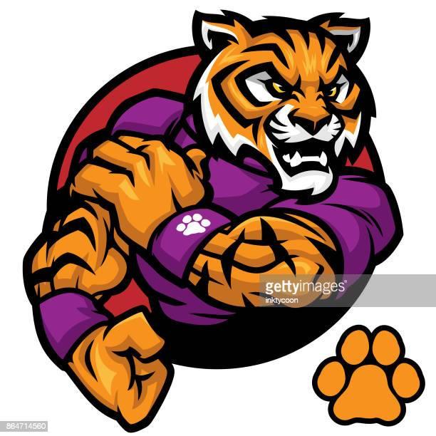 ilustraciones, imágenes clip art, dibujos animados e iconos de stock de tigre trabaja sport pack - tigre