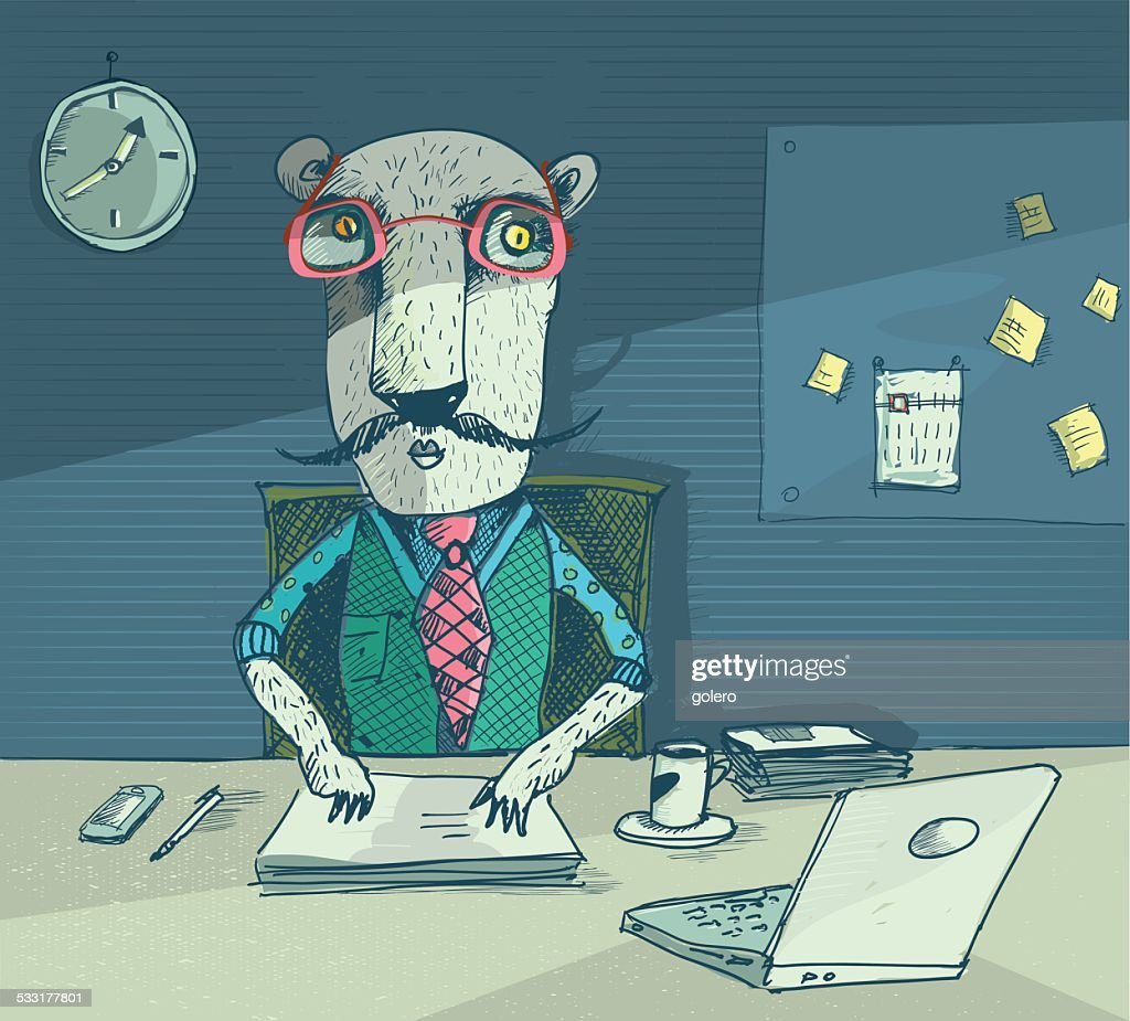 Tiger Works Night Shift At The Office stock illustration - Getty Images