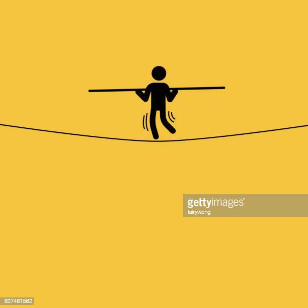 tightrope businessman - coordination stock illustrations, clip art, cartoons, & icons