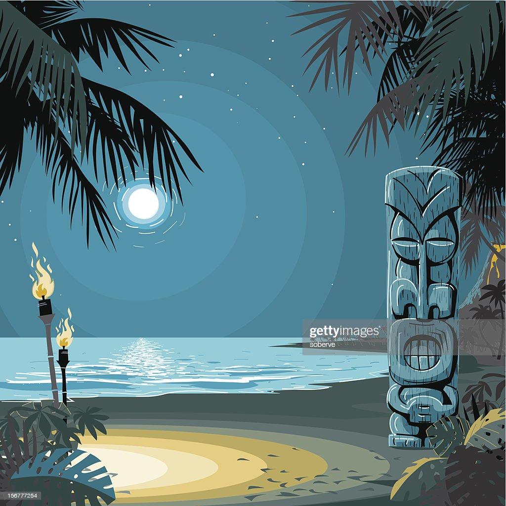 Bar Tiki, en la playa : Arte vectorial