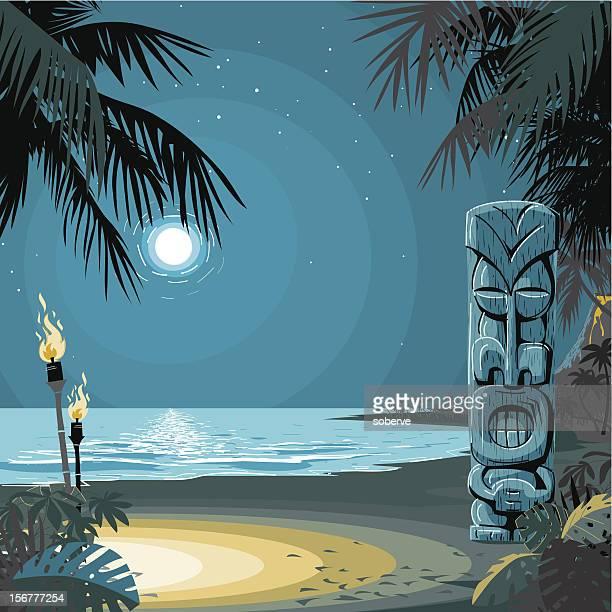 ilustraciones, imágenes clip art, dibujos animados e iconos de stock de bar tiki, en la playa - luna llena