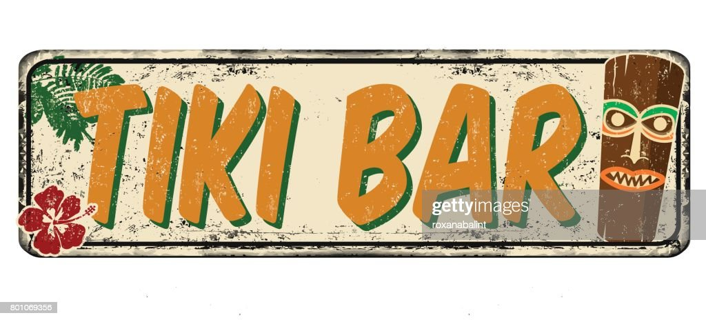 Tiki bar vintage rusty metal sign