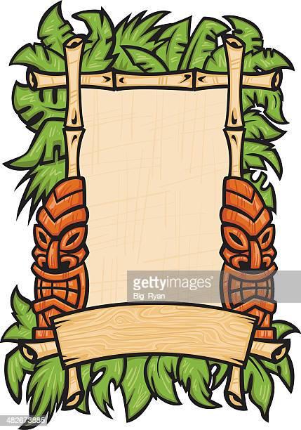 tiki god poster - hawaiian ethnicity stock illustrations, clip art, cartoons, & icons