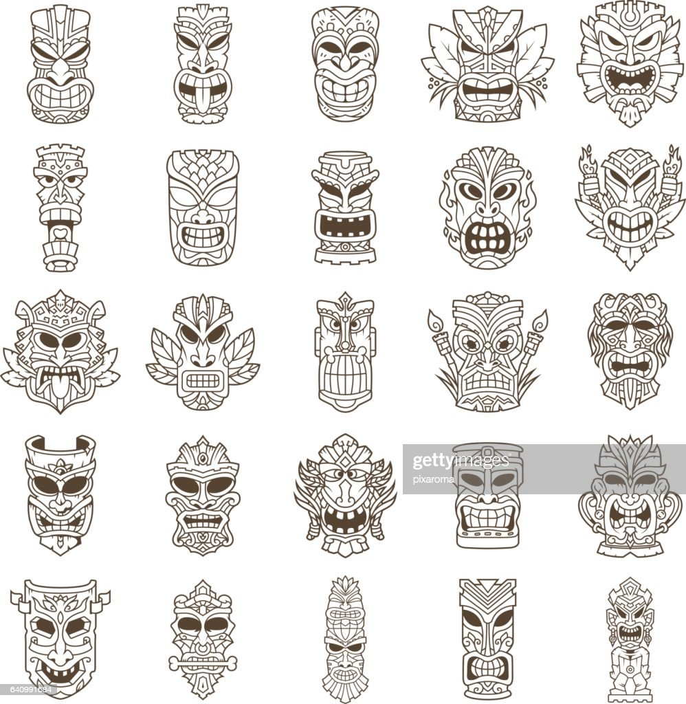 Tiki Head Line Art Set