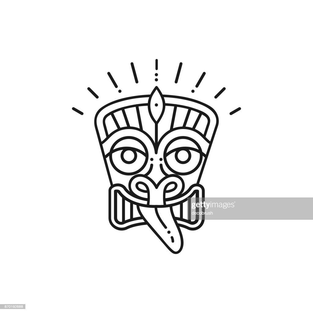 Tiki icon Tiki mask head. Thin line art Polynesian symbol