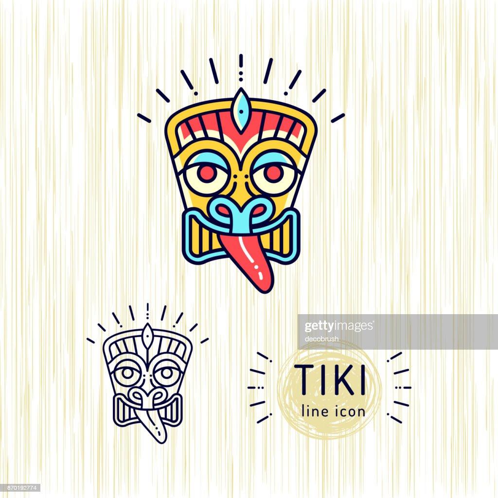 Tiki icons colorful design Tiki mask head. Thin line art Polynesian symbol