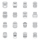 Tiki idol aztec hawaii icons set, outline style