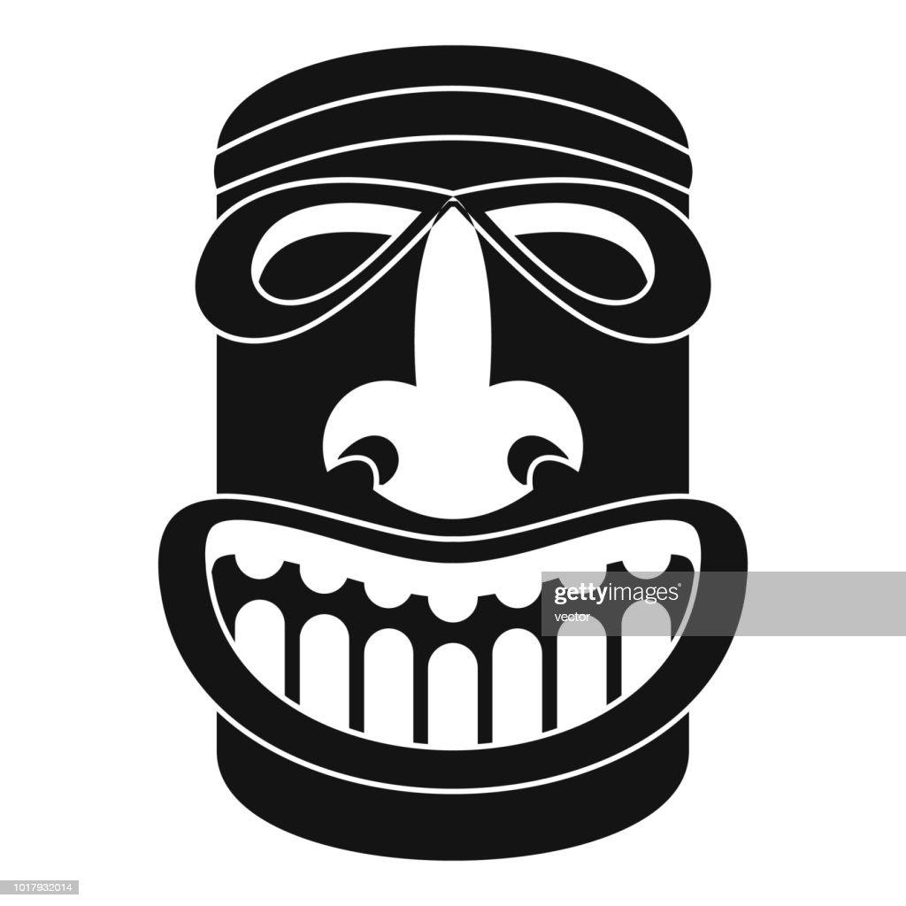 Tiki idol smile icon, simple style