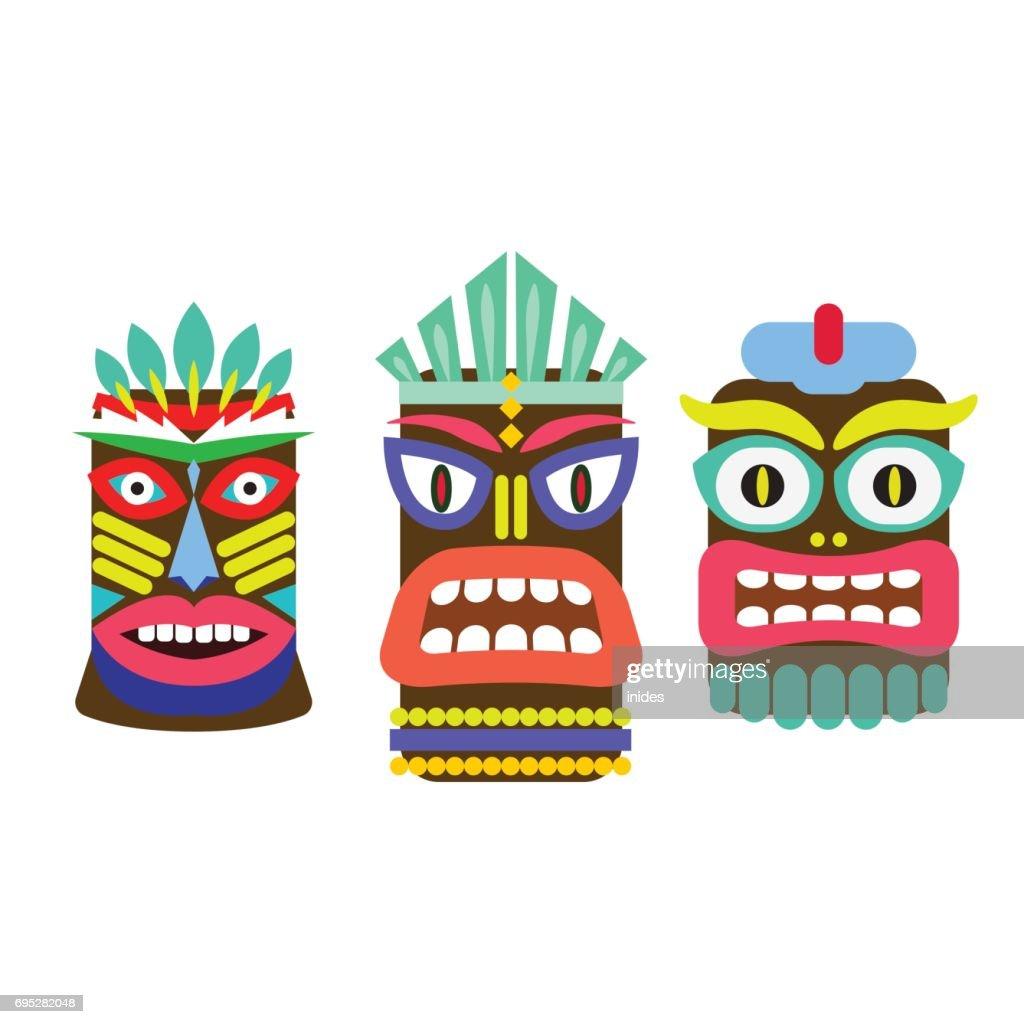 Tiki mask cartoon vector set