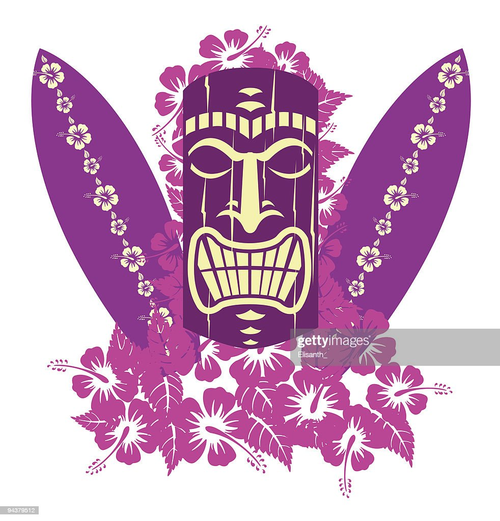 Tiki mask with surf boards