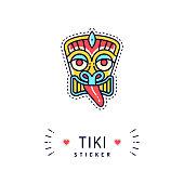 Tiki sticker or badge, Tiki icon isolated, Polynesian symbol