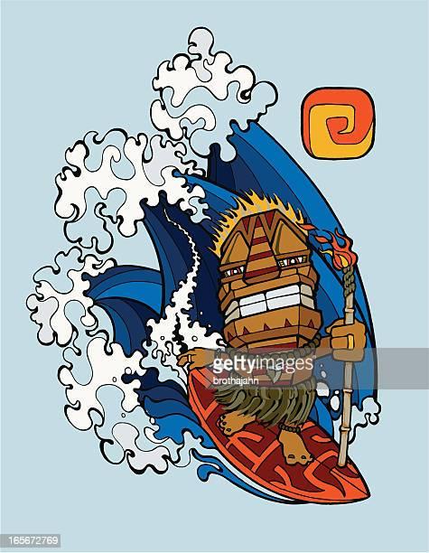 tiki surfer - hawaiian ethnicity stock illustrations, clip art, cartoons, & icons