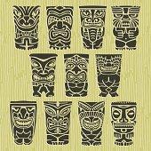 Tiki Tribal Vector Idol Totem Illustrations