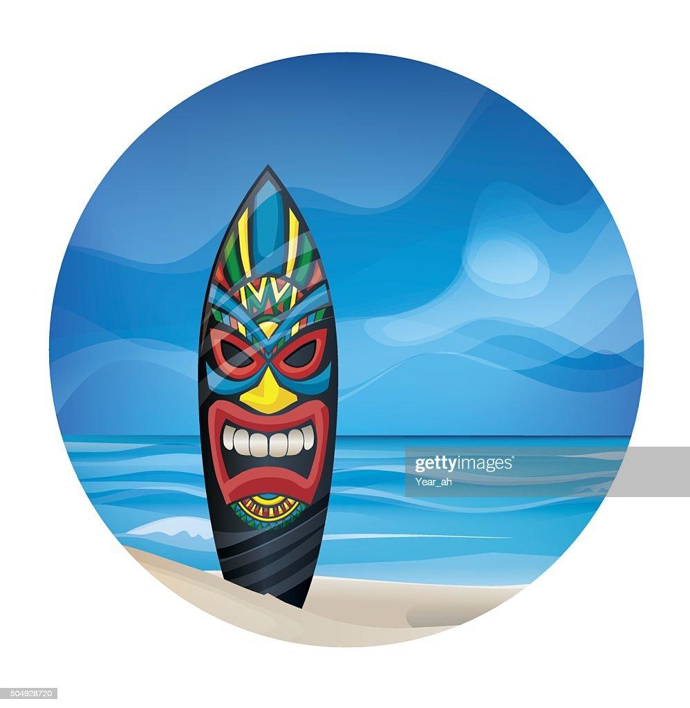 Tiki warrior mask design surfboard on ocean beach