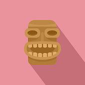 Tiki wood icon, flat style