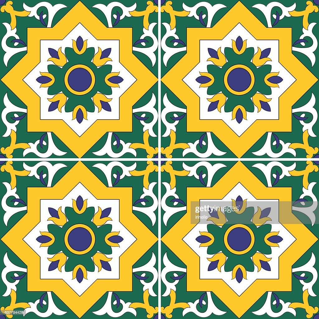 Tile pattern vector seamless with flowers motifs