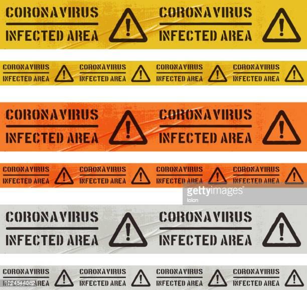 tileable coronavirus infected area cordon tape set on white - biohazardous substance stock illustrations