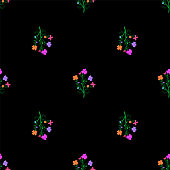 Tileable floral pattern with colorful flowers
