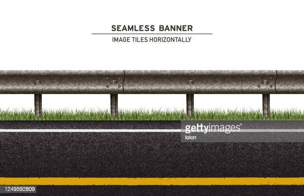 白い背景に草とガードレールベクトルバナーとタイル張り道路 - 境界線点のイラスト素材/クリップアート素材/マンガ素材/アイコン素材
