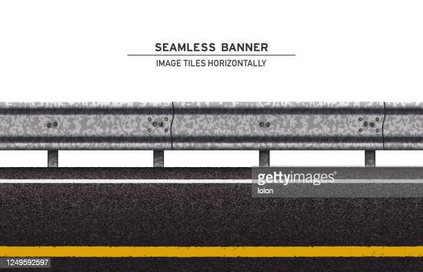 tileable road with guard rail vector banner on white background - road marking stock illustrations