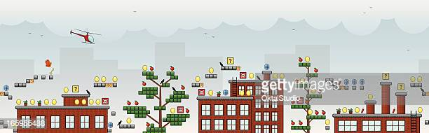 Tiled 2D arcade game with buildings and helicopter
