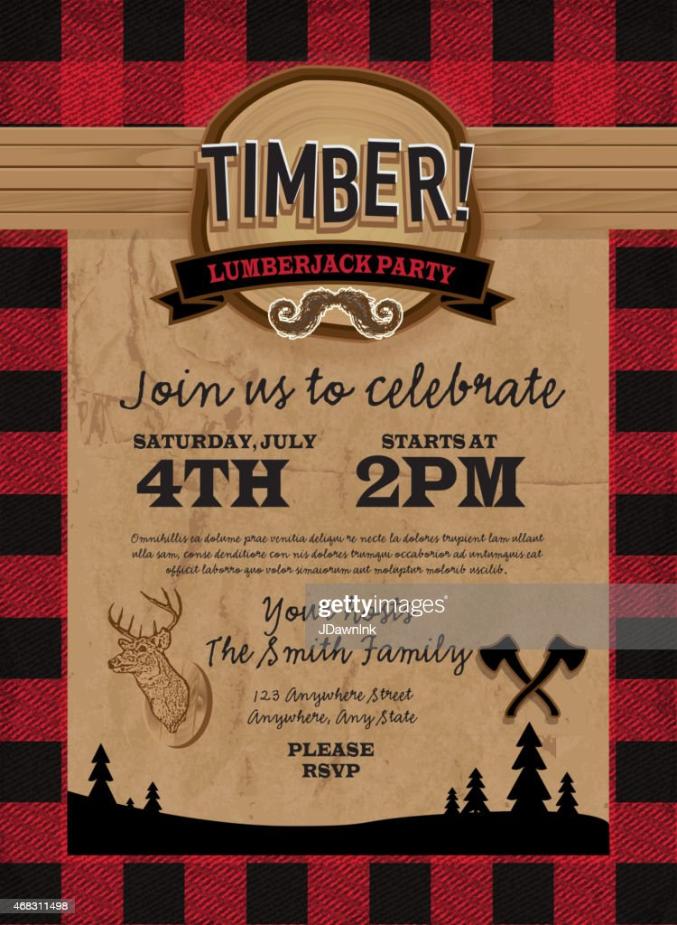 Timber Lumberjack party invitation design template