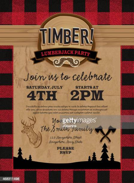 timber lumberjack party invitation design template - tartan stock illustrations