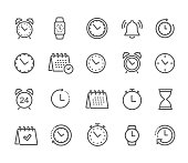 Time and clock, calendar, timer line icons. Vector linear icon set - stock vector.